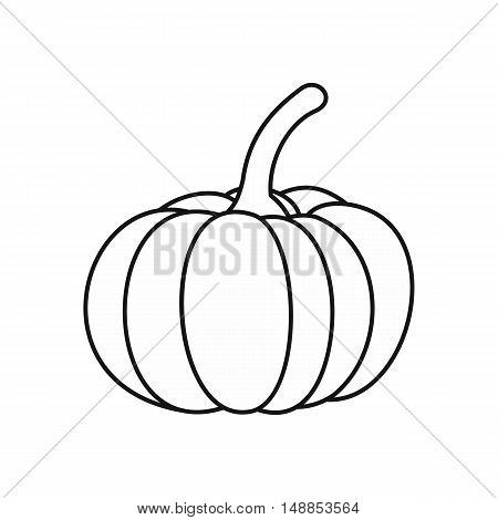 Pumpkin icon in outline style isolated on white background. Vegetables symbol vector illustration