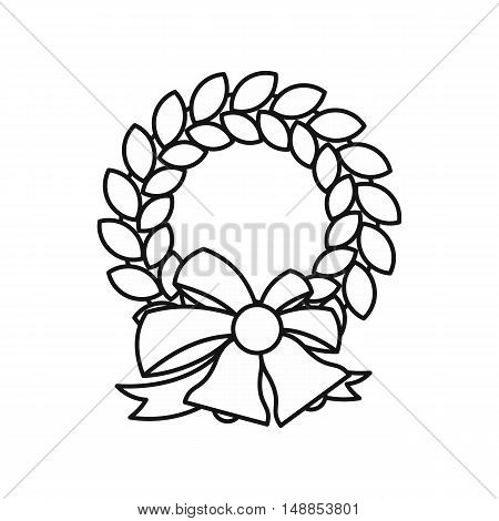 Christmas wreath with bell icon in outline style isolated on white background. Decoration symbol vector illustration