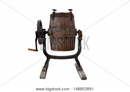 vintage greek barrel to whip up milk isolated over white