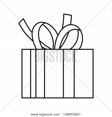 Christmas box with bow icon in outline style isolated on white background. New year symbol vector illustration