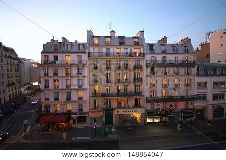 PARIS, FRANCE - SEP 09, 2014: The view from the building on street Rue La Fayette in Paris in the evening