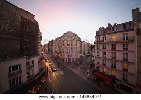 PARIS, FRANCE - SEP 09, 2014: The view from the window to the street Rue La Fayette in Paris in the evening, top view