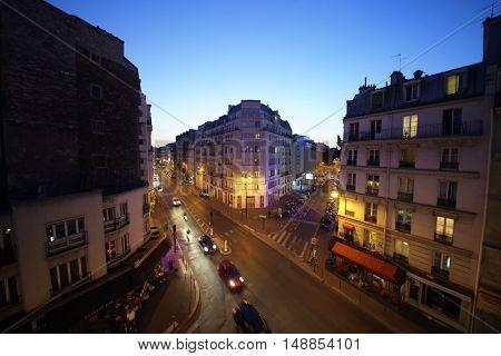 PARIS, FRANCE - SEP 09, 2014: Street Rue La Fayette in Paris in the evening, top view