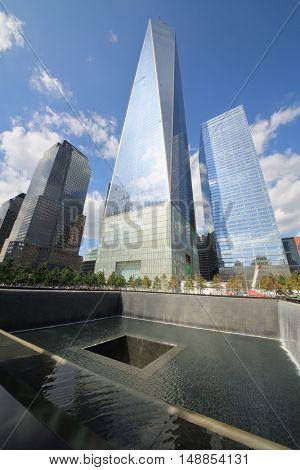 NEW YORK, USA - SEP 07, 2014: World Trade Center and national September 11 Memorial and Museum