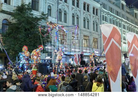 MOSCOW - SEP 5, 2015: Festival bright people on Neglinnaya City Day in 2015, dedicated to Year of Literature in Russia