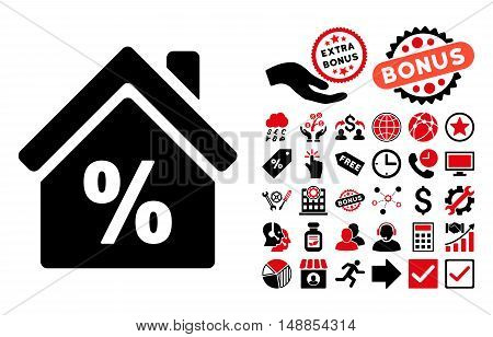Mortgage Discount icon with bonus symbols. Vector illustration style is flat iconic bicolor symbols intensive red and black colors white background.