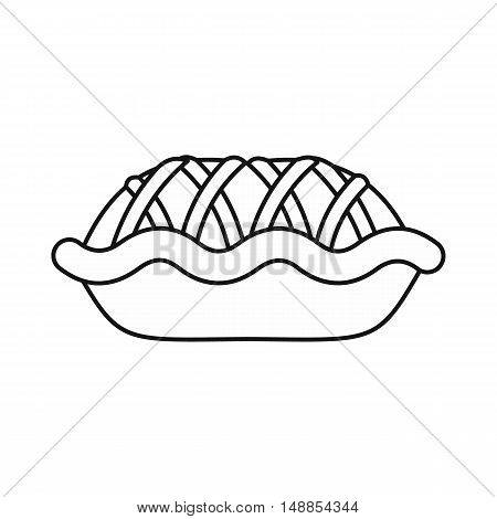 Pie icon in outline style isolated on white background. Food symbol vector illustration