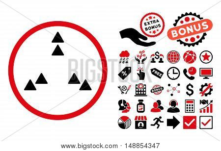 Move Out pictograph with bonus clip art. Vector illustration style is flat iconic bicolor symbols intensive red and black colors white background.