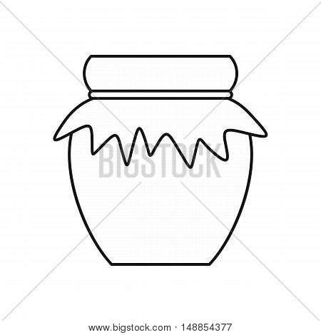 Jar of fresh honey icon in outline style isolated on white background. Food symbol vector illustration
