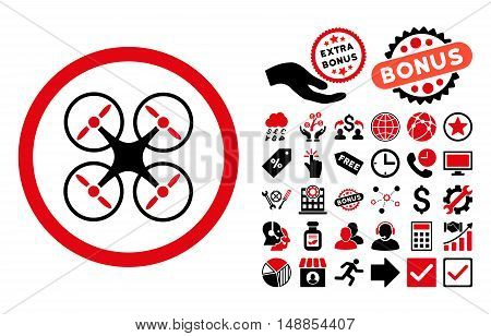 Nanocopter pictograph with bonus design elements. Vector illustration style is flat iconic bicolor symbols intensive red and black colors white background.