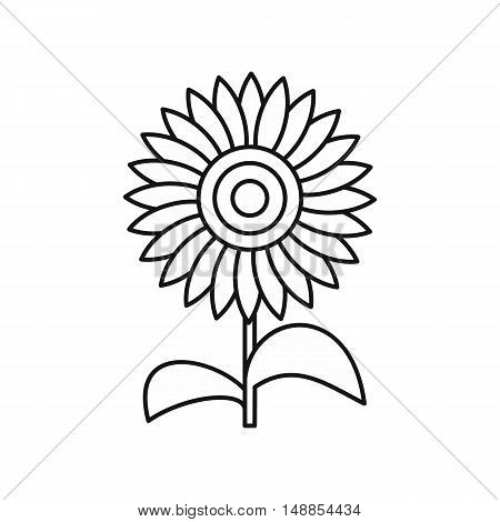 Sun flower icon in outline style isolated on white background. Plant symbol vector illustration