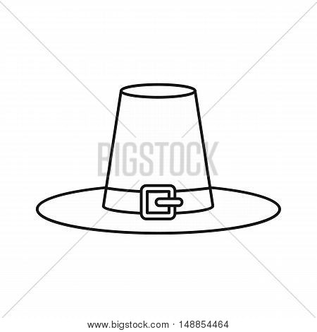 Witch hat icon in outline style isolated on white background. Tricks symbol vector illustration
