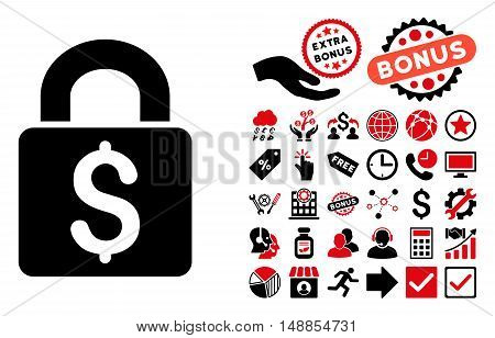 Pay Lock icon with bonus pictures. Vector illustration style is flat iconic bicolor symbols intensive red and black colors white background.