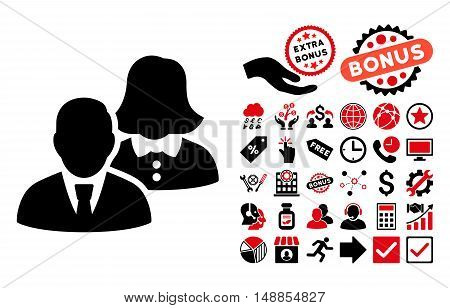People icon with bonus pictogram. Vector illustration style is flat iconic bicolor symbols intensive red and black colors white background.