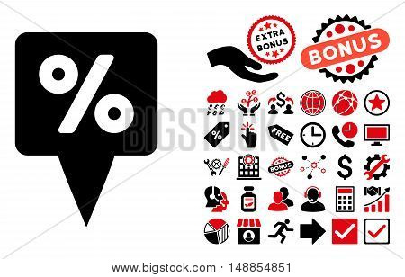Percent Map Pointer icon with bonus symbols. Vector illustration style is flat iconic bicolor symbols intensive red and black colors white background.