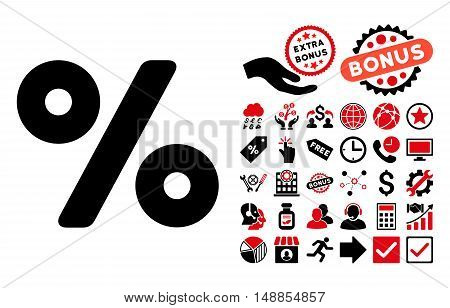 Percent pictograph with bonus icon set. Vector illustration style is flat iconic bicolor symbols intensive red and black colors white background.