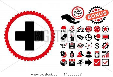 Plus pictograph with bonus design elements. Vector illustration style is flat iconic bicolor symbols intensive red and black colors white background.
