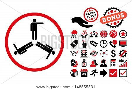 Pointing Men pictograph with bonus pictogram. Vector illustration style is flat iconic bicolor symbols intensive red and black colors white background.