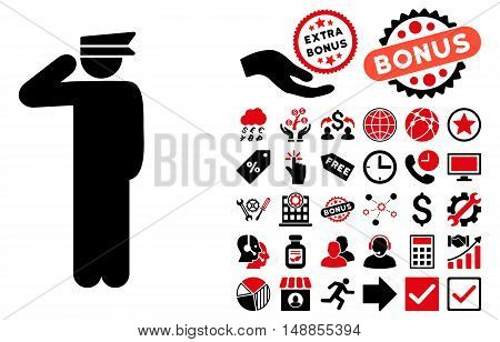 Police Officer icon with bonus design elements. Vector illustration style is flat iconic bicolor symbols intensive red and black colors white background.