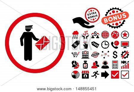 Postman icon with bonus images. Vector illustration style is flat iconic bicolor symbols intensive red and black colors white background.