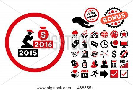 Pray for Money 2016 pictograph with bonus symbols. Vector illustration style is flat iconic bicolor symbols intensive red and black colors white background.