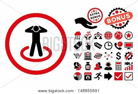 Prisoner icon with bonus icon set. Vector illustration style is flat iconic bicolor symbols intensive red and black colors white background.