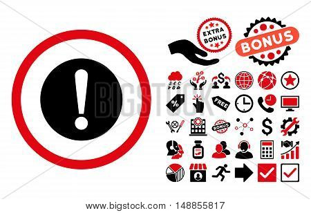 Problem pictograph with bonus pictures. Vector illustration style is flat iconic bicolor symbols intensive red and black colors white background.