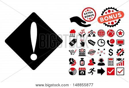 Problem icon with bonus pictures. Vector illustration style is flat iconic bicolor symbols intensive red and black colors white background.