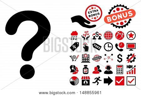 Question pictograph with bonus elements. Vector illustration style is flat iconic bicolor symbols intensive red and black colors white background.