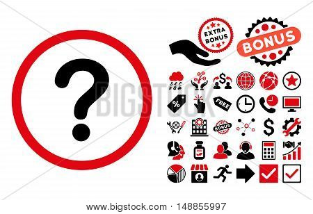 Question pictograph with bonus pictogram. Vector illustration style is flat iconic bicolor symbols intensive red and black colors white background.
