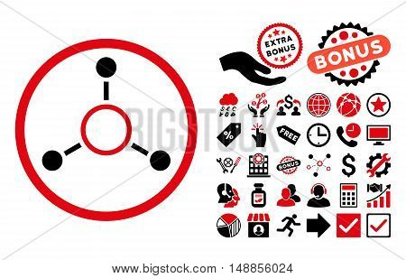 Radial Structure icon with bonus pictograph collection. Vector illustration style is flat iconic bicolor symbols intensive red and black colors white background.