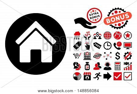 Real Estate icon with bonus pictograph collection. Vector illustration style is flat iconic bicolor symbols intensive red and black colors white background.