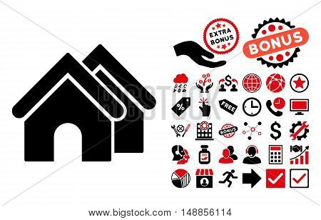Real Estate pictograph with bonus icon set. Vector illustration style is flat iconic bicolor symbols intensive red and black colors white background.