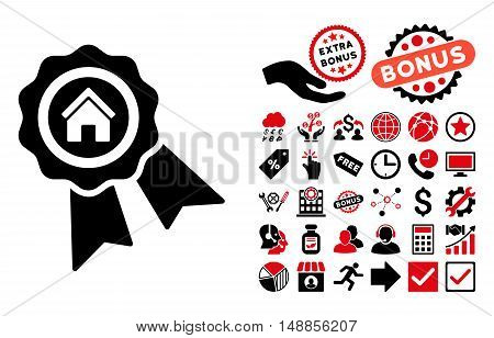Realty Award icon with bonus symbols. Vector illustration style is flat iconic bicolor symbols intensive red and black colors white background.
