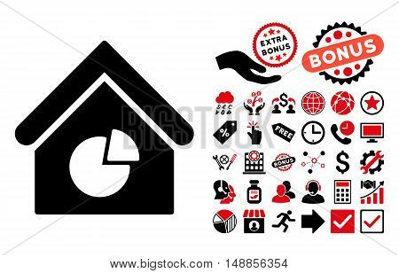 Realty Pie Chart icon with bonus pictogram. Vector illustration style is flat iconic bicolor symbols intensive red and black colors white background.