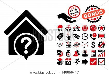 Realty State icon with bonus elements. Vector illustration style is flat iconic bicolor symbols intensive red and black colors white background.