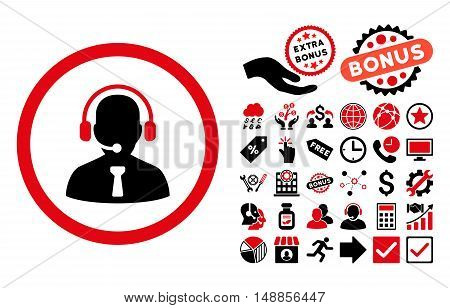 Reception Operator icon with bonus elements. Vector illustration style is flat iconic bicolor symbols intensive red and black colors white background.