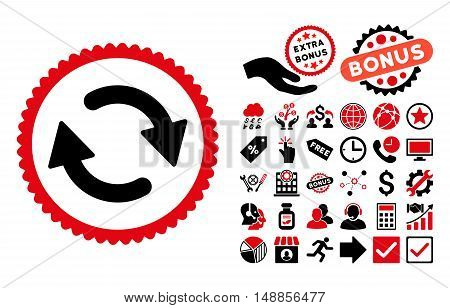Refresh icon with bonus design elements. Vector illustration style is flat iconic bicolor symbols intensive red and black colors white background.
