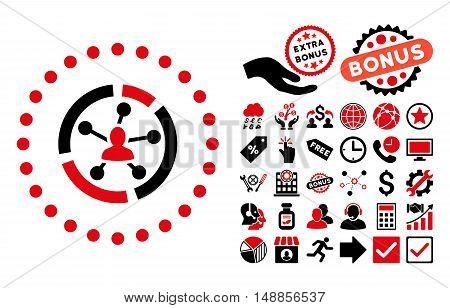 Relations Diagram pictograph with bonus pictogram. Vector illustration style is flat iconic bicolor symbols intensive red and black colors white background.