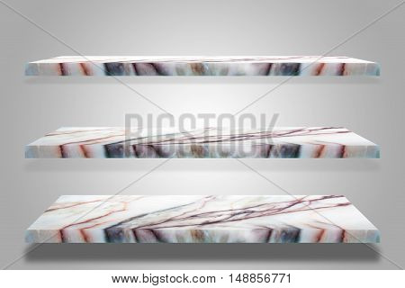 Three empty top of granite marble table on grey background / For product display / clipping path