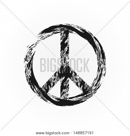 Grunge peace symbol. Broken sign pacifism. Rough brush. Isolated.