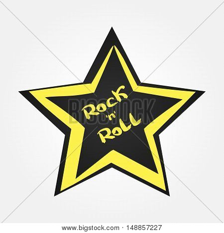 Star with handwritten text Rock and Roll. Isolated.