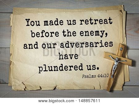 TOP-1000.  Bible verses from Psalms. You made us retreat before the enemy, and our adversaries have plundered us.