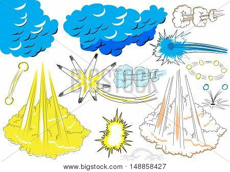 Vector illustrated comic book style elements and explosions on white background.
