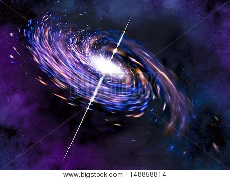 Spiral galaxy with a rapidly rotating stars.