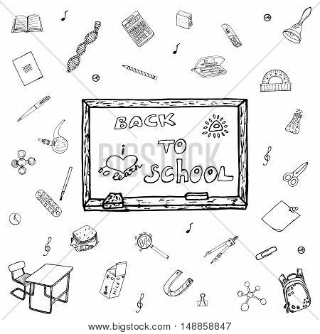 Back To School. Hand drawn Icons. Ideal Quality Sketch Drawing for your Schooling design. Collection of draft elements, signs, symbols about Learning. Art Doodle isolated objects. Vector Illustration.
