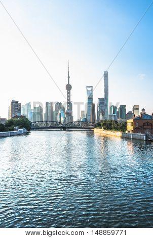 beautiful shanghai scene,waibaidu bridge and the bund skyline ,view from suzhou river,china,east asia.