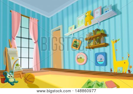 Illustration for Children: Sweet Child Room. Video Game's Digital CG Artwork, Concept Illustration, Realistic Cartoon Style Background