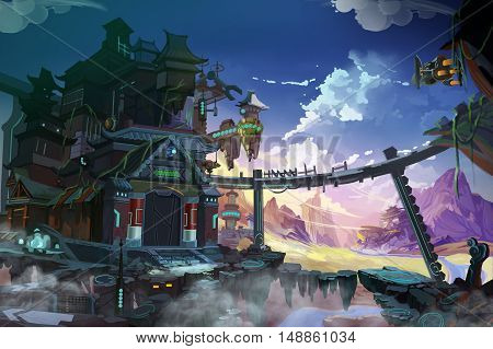 Fantastic China. An Imagination Combined with Futuristic and Historical Both. Video Game's Digital CG Artwork, Concept Illustration, Realistic Cartoon Style Background