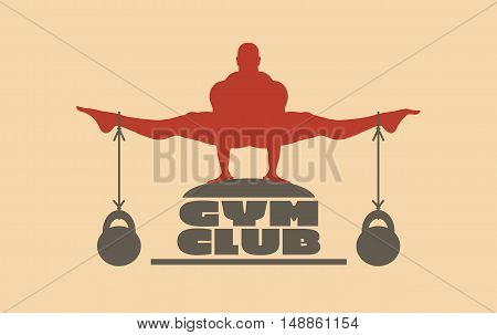 Muscular man posing on gym club text. Vector silhouette. Bodybuilding relative image